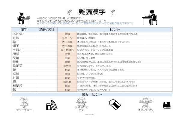 漢字読みプリント4