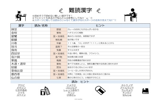 脳トレ漢字プリント202101