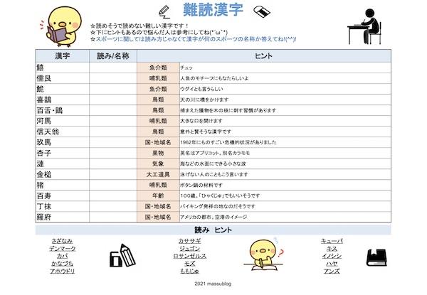 脳トレ漢字プリント202106