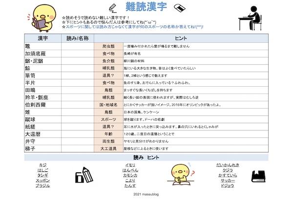 脳トレ漢字プリント202107