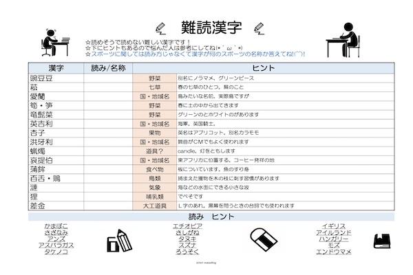 脳トレ漢字プリント121701