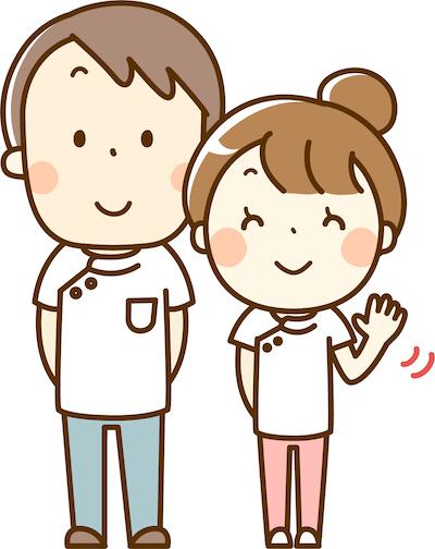 介護士が手を振っている画像
